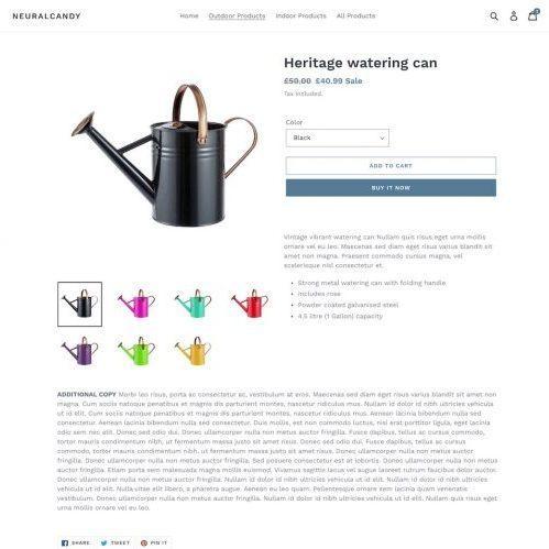 Shopify split product description desktop view