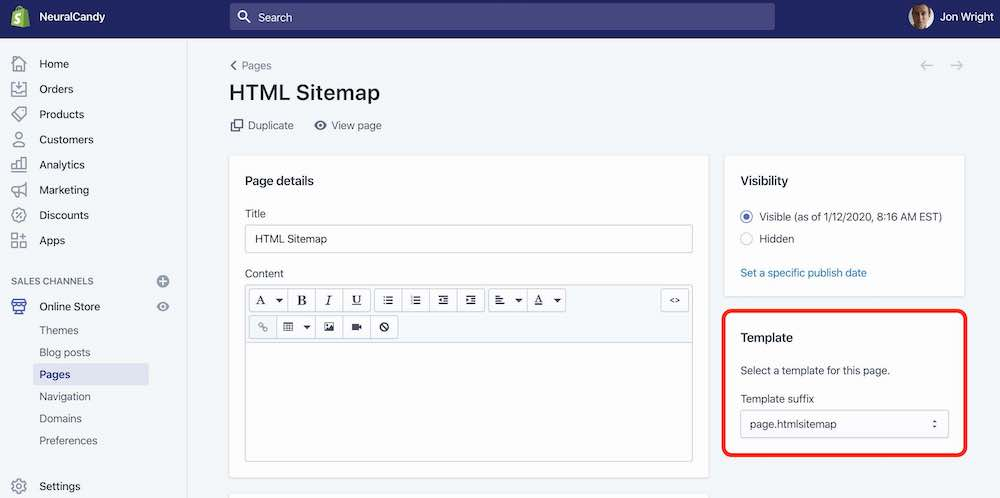 Adding a page for your Shopify Store HTML sitemap